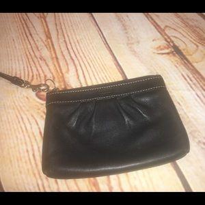 Coach All Black Leather Wristlet